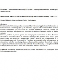 Electronic Thesis and Dissertations (ETDs) in E-Learning environment: A Conceptual Model for Iran