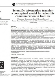 Scientific information transfer: a conceptual model for scientific communication in IranDoc