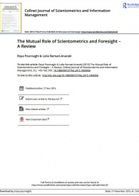 The Mutual Role of Scientometrics and Foresight– A Review