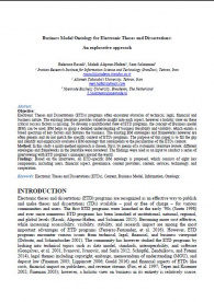 Business Model Ontology for Electronic Theses and Dissertations: An explorative approach